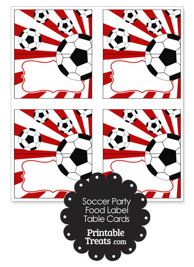 Red Sunburst Soccer Party Food Labels from PrintableTreats.com