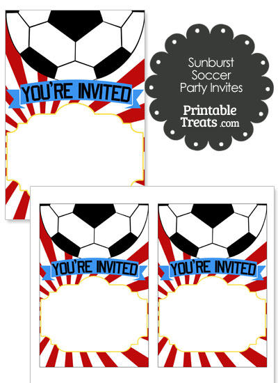 Red Sunburst Soccer Party Invites from PrintableTreats.com