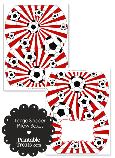 Red Sunburst Soccer Party Large Pillow Boxes from PrintableTreats.com