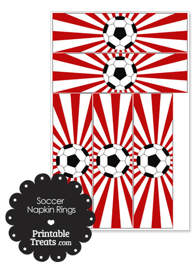 Red Sunburst Soccer Party Napkin Rings from PrintableTreats.com