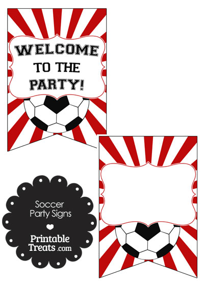 Red Sunburst Soccer Party Signs from PrintableTreats.com
