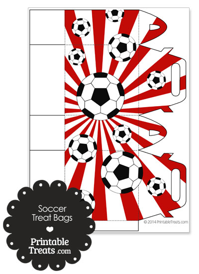 Red Sunburst Soccer Party Treat Bags from PrintableTreats.com