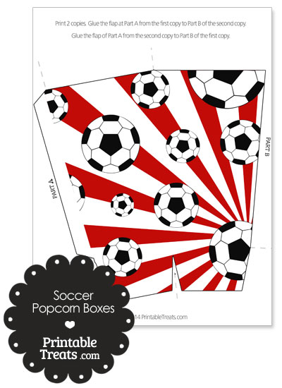 Red Sunburst Soccer Popcorn Boxes from PrintableTreats.com