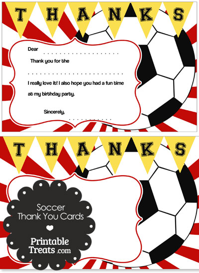 Red Sunburst Soccer Thank You Cards from PrintableTreats.com