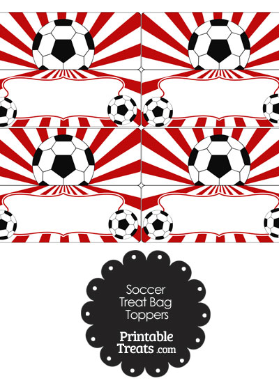 Red Sunburst Soccer Treat Bag Toppers from PrintableTreats.com
