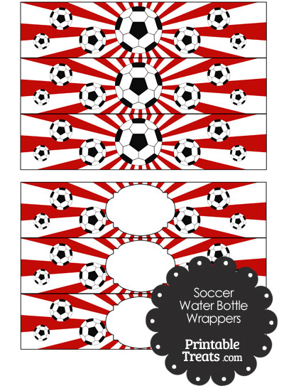 Red Sunburst Soccer Water Bottle Wrappers from PrintableTreats.com