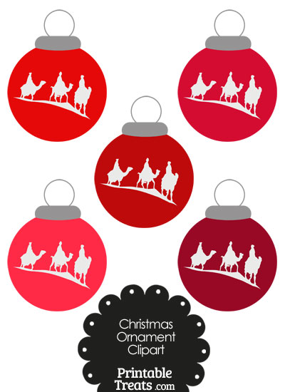 Red Three Wise Men Christmas Ornament Clipart from PrintableTreats.com