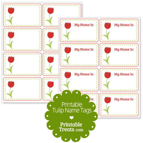 red tulip name tags