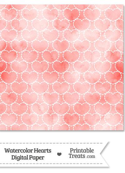 Red Watercolor Hearts Digital Scrapbook Paper from PrintableTreats.com