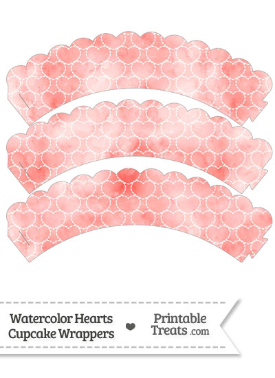 Red Watercolor Hearts Scalloped Cupcake Wrappers from PrintableTreats.com