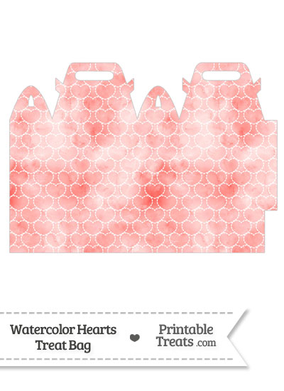 Red Watercolor Hearts Treat Bag from PrintableTreats.com