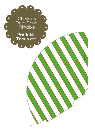Red White and Green Diagonal Striped Printable Treat Cone from PrintableTreats.com