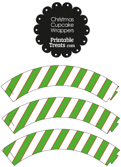 Red White and Green Diagonal Striped Cupcake Wrappers from PrintableTreats.com