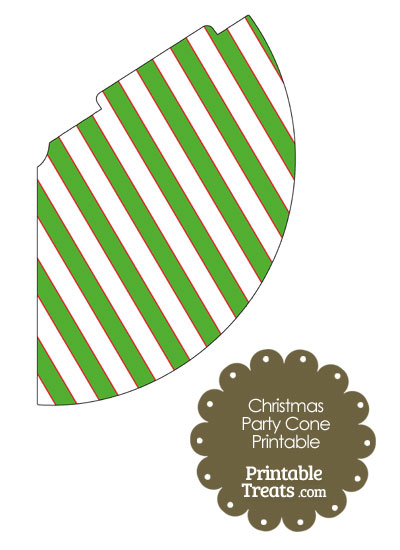Red White and Green Diagonal Striped Party Cone from PrintableTreats.com