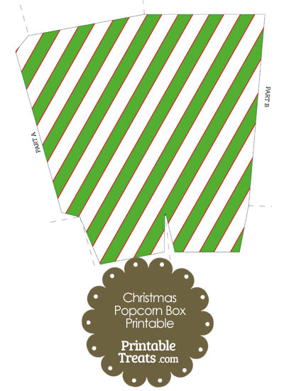 Red White and Green Diagonal Striped Popcorn Box from PrintableTreats.com