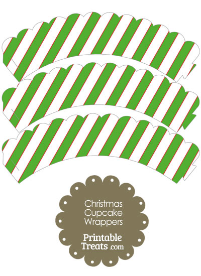 Red White and Green Diagonal Striped Scalloped Cupcake Wrappers from PrintableTreats.com
