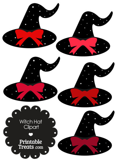 Red Witch Hat Clipart with Large Bow from PrintableTreats.com