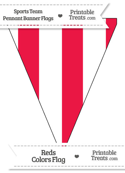 Reds Colors Pennant Banner Flag from PrintableTreats.com