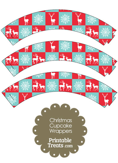 Reindeer and Snowflakes Cupcake Wrappers from PrintableTreats.com