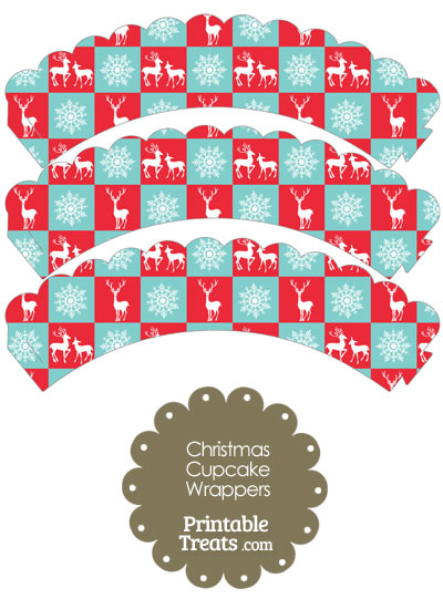 Reindeer and Snowflakes Scalloped Cupcake Wrappers from PrintableTreats.com