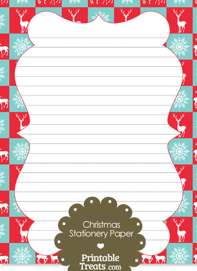 Reindeer and Snowflakes Stationery Paper from PrintableTreats.com