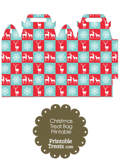 Reindeer and Snowflakes Treat Bag from PrintableTreats.com