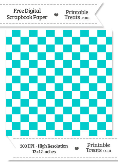 Robin Egg Blue Checkered Pattern Digital Paper from PrintableTreats.com