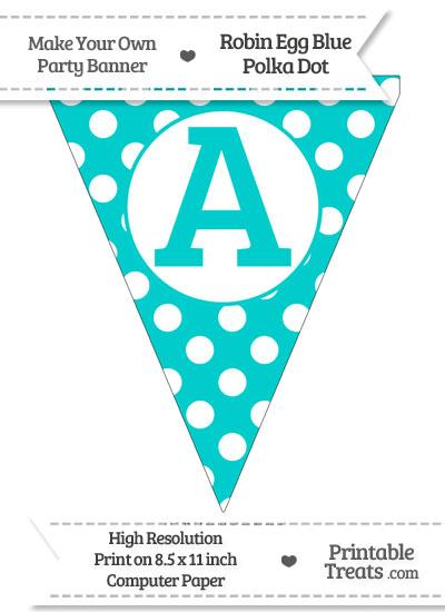Robin Egg Blue Polka Dot Pennant Flag Capital Letter A from PrintableTreats.com
