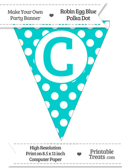 Robin Egg Blue Polka Dot Pennant Flag Capital Letter C from PrintableTreats.com