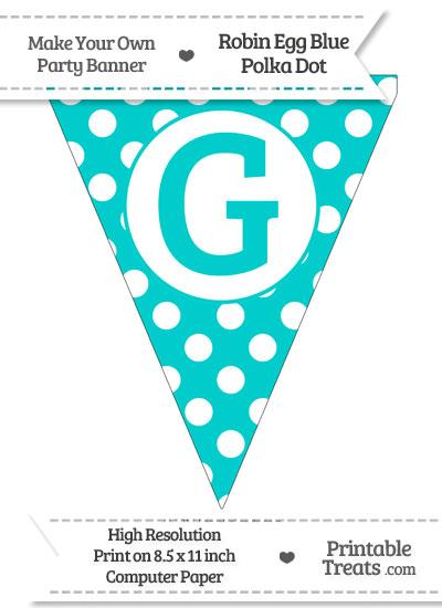 Robin Egg Blue Polka Dot Pennant Flag Capital Letter G from PrintableTreats.com