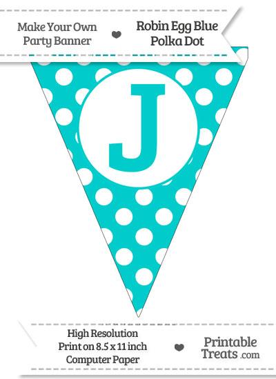 Robin Egg Blue Polka Dot Pennant Flag Capital Letter J from PrintableTreats.com