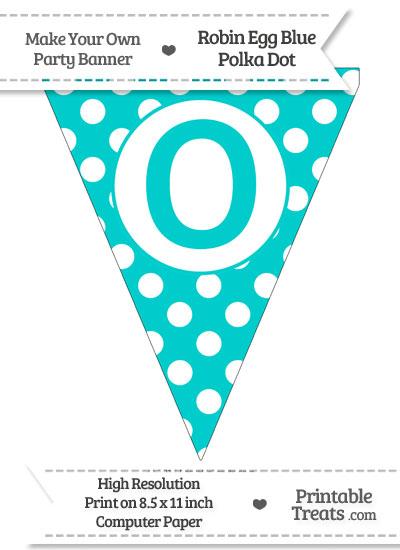 Robin Egg Blue Polka Dot Pennant Flag Capital Letter O from PrintableTreats.com