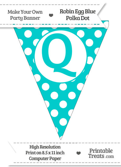 Robin Egg Blue Polka Dot Pennant Flag Capital Letter Q from PrintableTreats.com