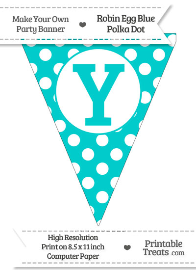 Robin Egg Blue Polka Dot Pennant Flag Capital Letter Y from PrintableTreats.com