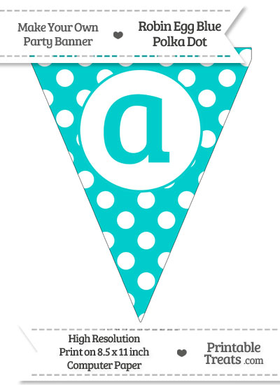 Robin Egg Blue Polka Dot Pennant Flag Lowercase Letter A from PrintableTreats.com