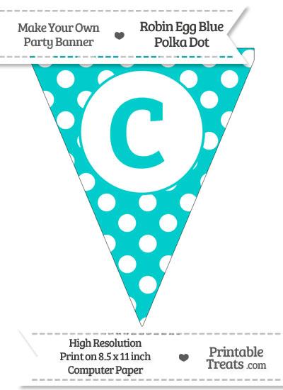 Robin Egg Blue Polka Dot Pennant Flag Lowercase Letter C from PrintableTreats.com