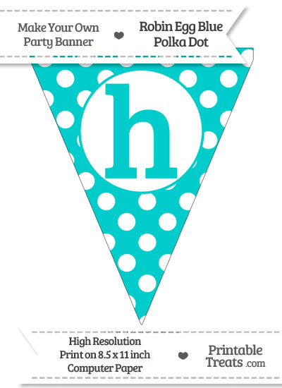 Robin Egg Blue Polka Dot Pennant Flag Lowercase Letter H from PrintableTreats.com