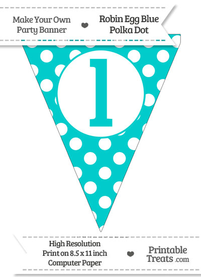 Robin Egg Blue Polka Dot Pennant Flag Lowercase Letter L from PrintableTreats.com