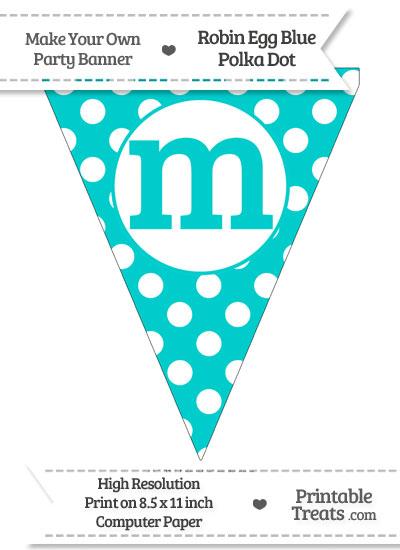 Robin Egg Blue Polka Dot Pennant Flag Lowercase Letter M from PrintableTreats.com