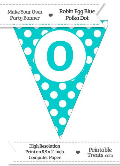 Robin Egg Blue Polka Dot Pennant Flag Lowercase Letter O from PrintableTreats.com