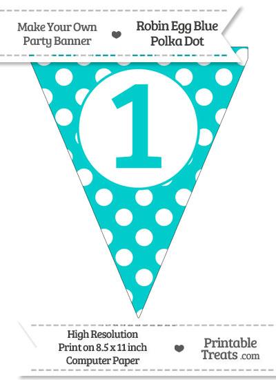 Robin Egg Blue Polka Dot Pennant Flag Number 1 from PrintableTreats.com
