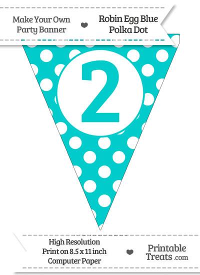 Robin Egg Blue Polka Dot Pennant Flag Number 2 from PrintableTreats.com