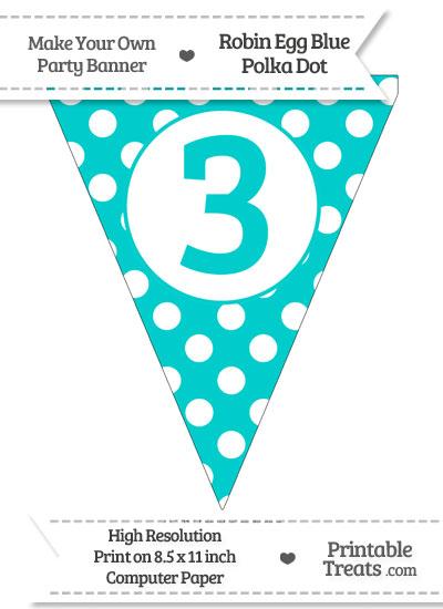 Robin Egg Blue Polka Dot Pennant Flag Number 3 from PrintableTreats.com