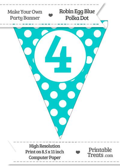 Robin Egg Blue Polka Dot Pennant Flag Number 4 from PrintableTreats.com