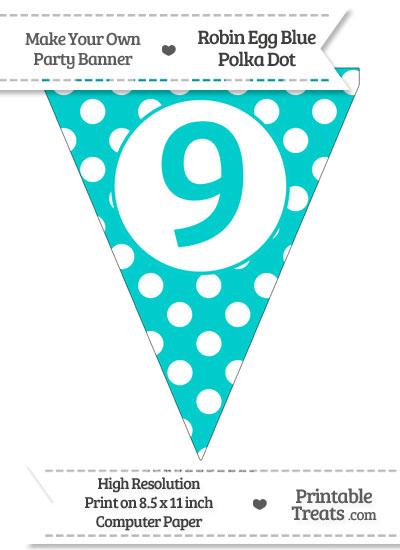 Robin Egg Blue Polka Dot Pennant Flag Number 9 from PrintableTreats.com