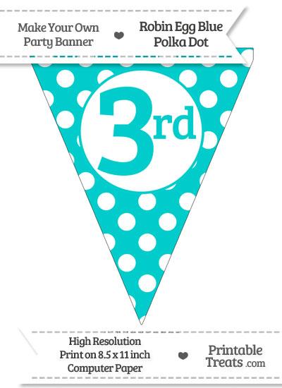 Robin Egg Blue Polka Dot Pennant Flag Ordinal Number 3rd from PrintableTreats.com