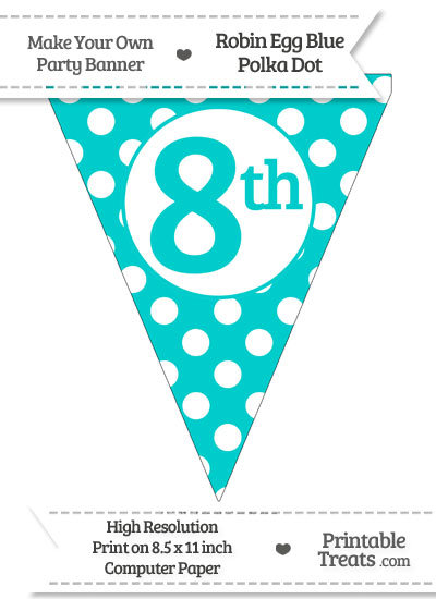 Robin Egg Blue Polka Dot Pennant Flag Ordinal Number 8th from PrintableTreats.com