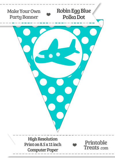 Robin Egg Blue Polka Dot Pennant Flag with Airplane Facing Left from PrintableTreats.com
