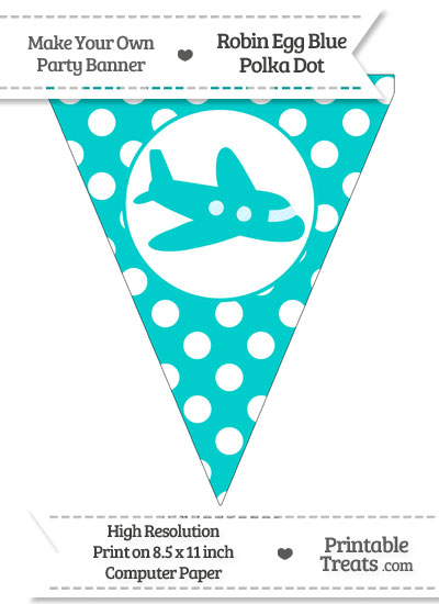 Robin Egg Blue Polka Dot Pennant Flag with Airplane Facing Right from PrintableTreats.com