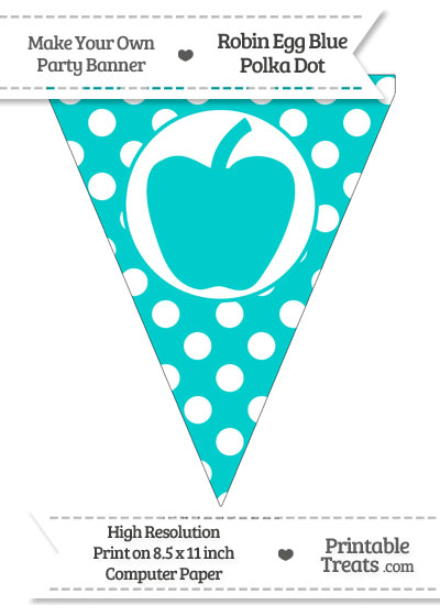 Robin Egg Blue Polka Dot Pennant Flag with Apple from PrintableTreats.com